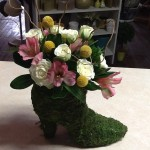 Small Roses in Boot Vase